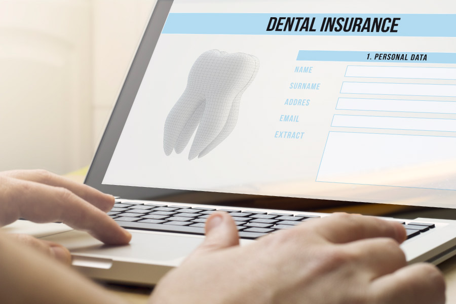 Photo of a computer screen showing dental insurance information.