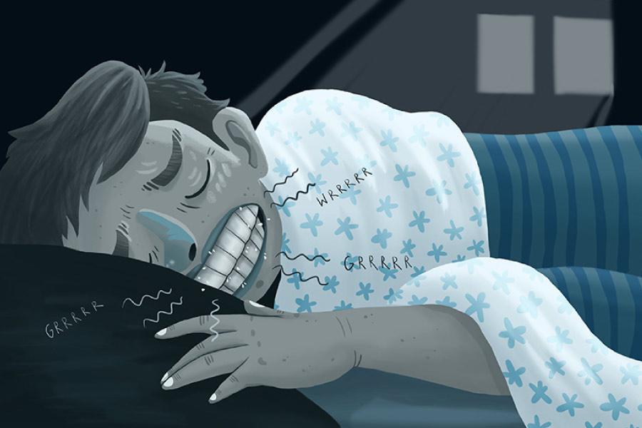 Cartoon of a sleeping man grinding his teeth.